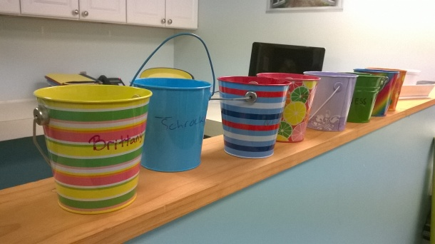 Our buckets at Gano! We can leave each other notes to encourage each other.